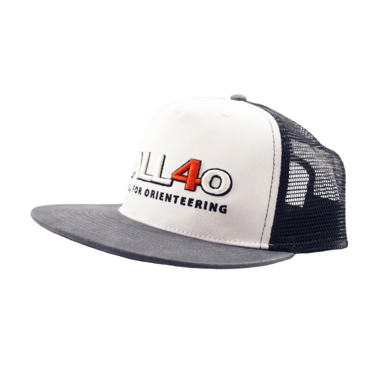 ALL FOR ORIENTEERING TRUCKER CAP, White-Black-Grey | Hats