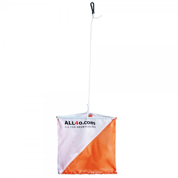 Orienteering control flag with ALL4o.com logo, 15 x 15cm