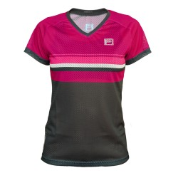 FRENSON O-DIVISION Women's mesh orienteering shirt, Deep Magenta