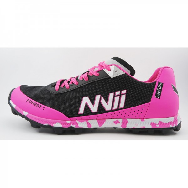NVII FOREST 1 orienteering shoes, with metal spikes, Black/Pink