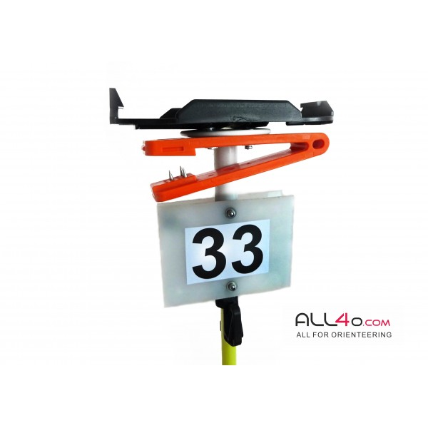 Orienteering fiberglass control post with SPORTident unit mounting plate, needle punch and number plate