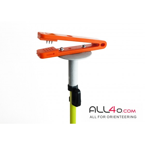 Orienteering fiberglass control post with classic backup needle/pin punch