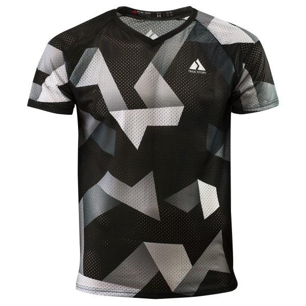 TRUE STORY Classic mesh o-shirt for men, black sterling