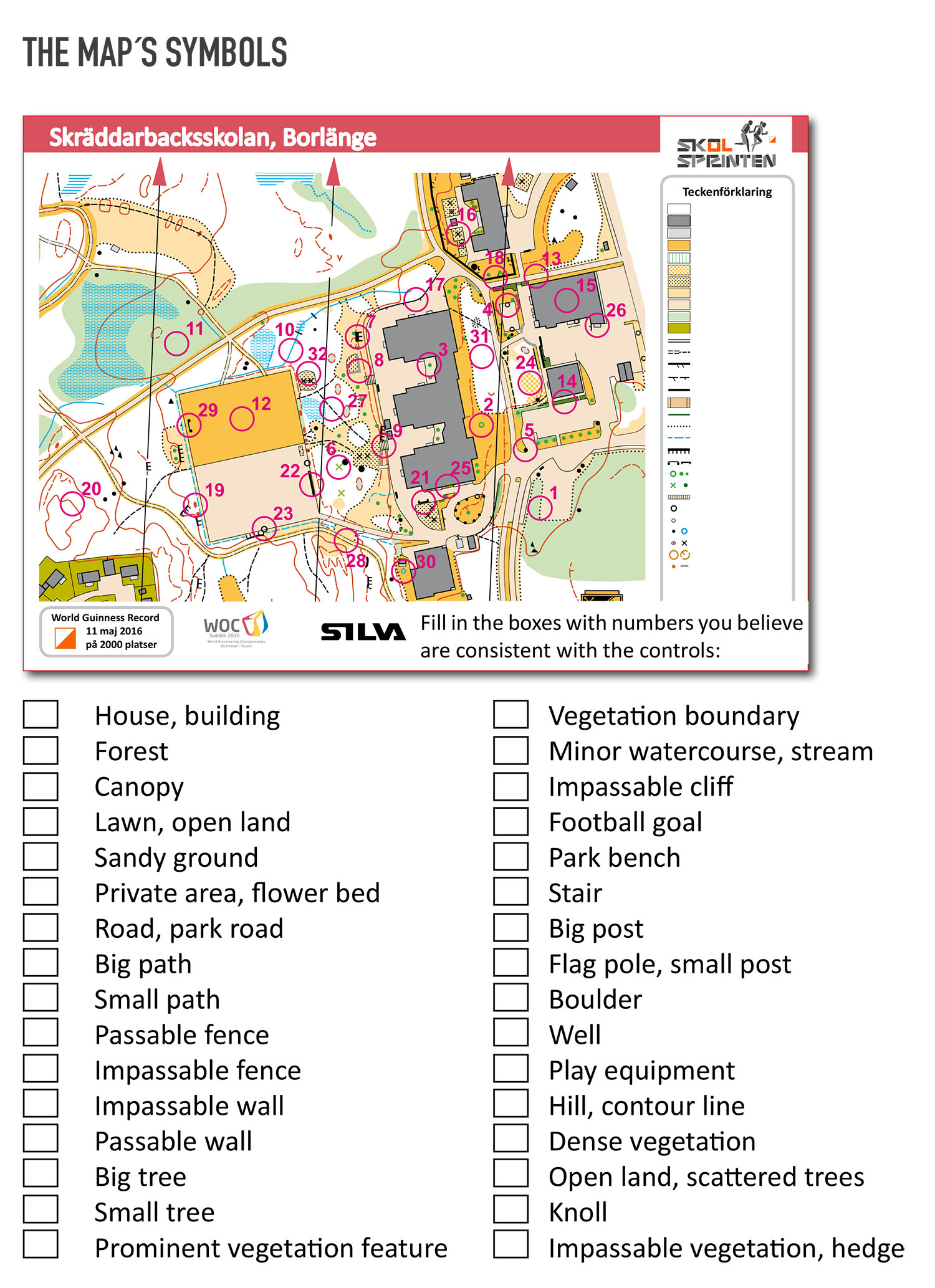 Orienteering At School For Ages 6 12 Appendix Exercise Maps Symbols